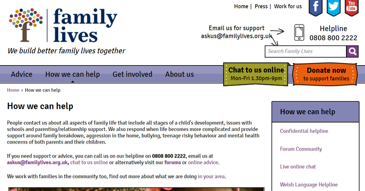 family lives support charity