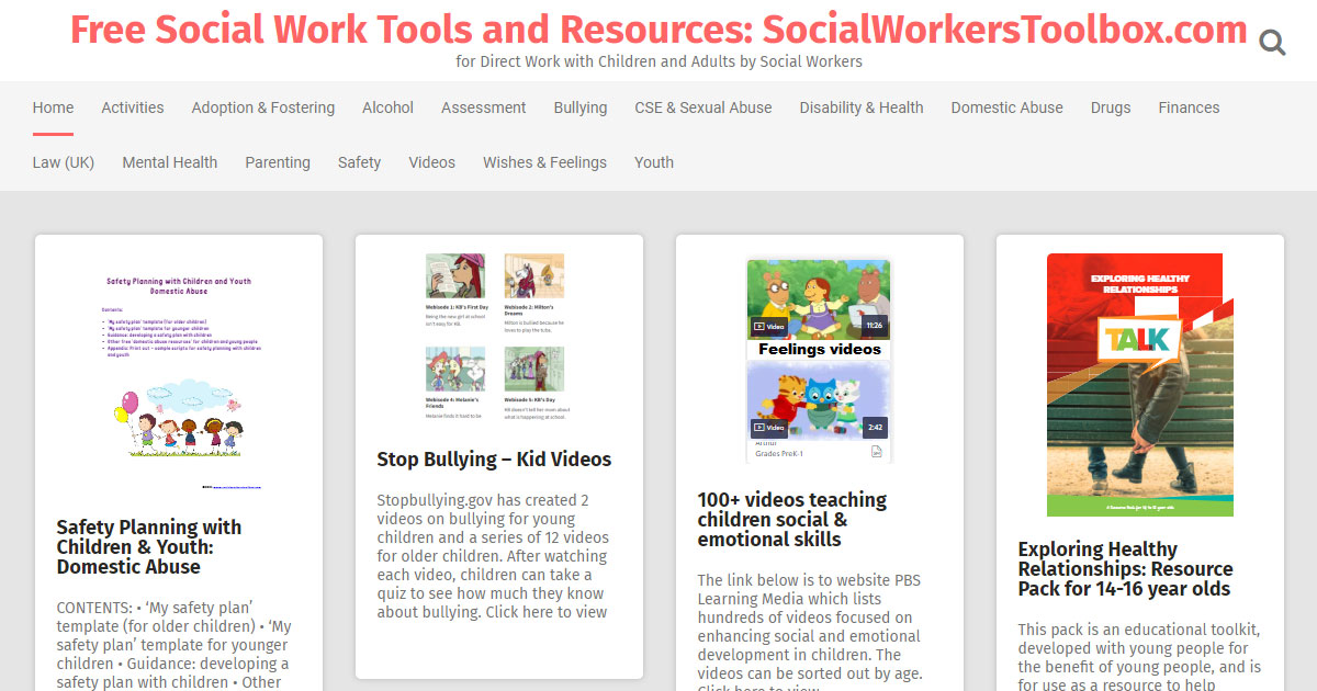 free socialworker toolbox resources